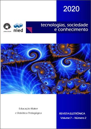 Capa miniatura volume 7, número 2, ano 2020, contendo uma imagem de um fractal, o tema deste número (Educação Maker e Robótica Pedagógica)